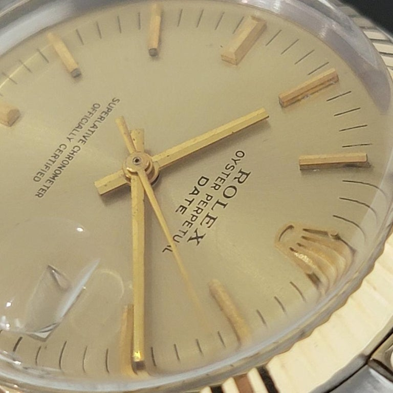 Mens Rolex Oyster Date 1500 14k Gold ss Automatic 1960s w Pouch RA166 For Sale 1