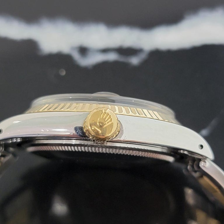 Mens Rolex Oyster Date 1500 14k Gold ss Automatic 1960s w Pouch RA166 For Sale 2