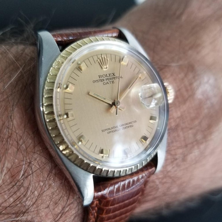 Mens Rolex Oyster Date Ref.1505 14k Gold & SS Automatic c.1970s RA105BRN For Sale 7