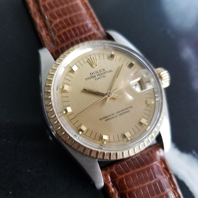 Mens Rolex Oyster Date Ref.1505 14k Gold & SS Automatic c.1970s RA105BRN In Excellent Condition For Sale In Beverly Hills, CA