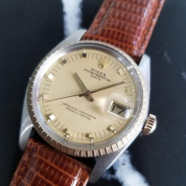 Men's Mens Rolex Oyster Date Ref.1505 14k Gold & SS Automatic c.1970s RA105BRN For Sale