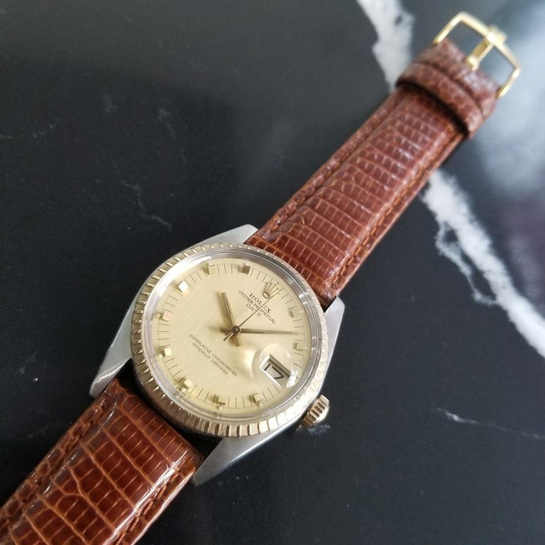 Mens Rolex Oyster Date Ref.1505 14k Gold & SS Automatic c.1970s RA105BRN For Sale 1