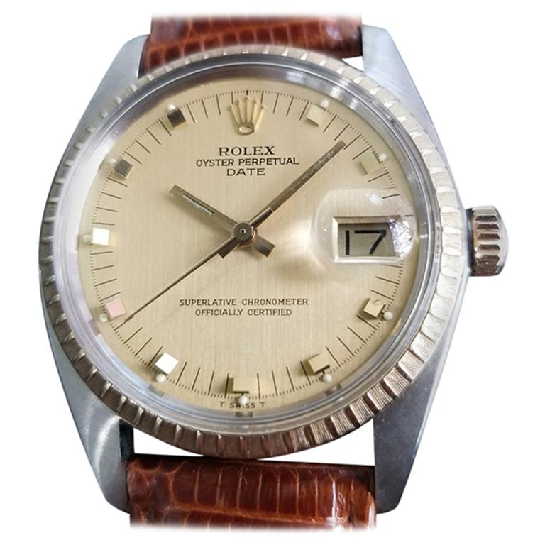 Mens Rolex Oyster Date Ref.1505 14k Gold & SS Automatic c.1970s RA105BRN For Sale