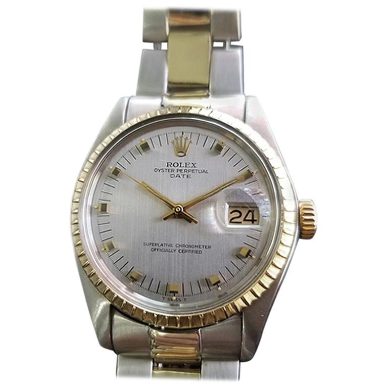 Men's Rolex Oyster Date Ref.1505 14k Gold & SS Automatic c.1970s Swiss RA104