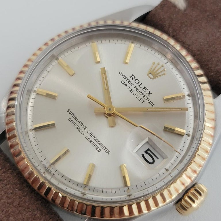 Mens Rolex Oyster Datejust 1601 18k SS Automatic 1970s Vintage Swiss RJC132 For Sale 10