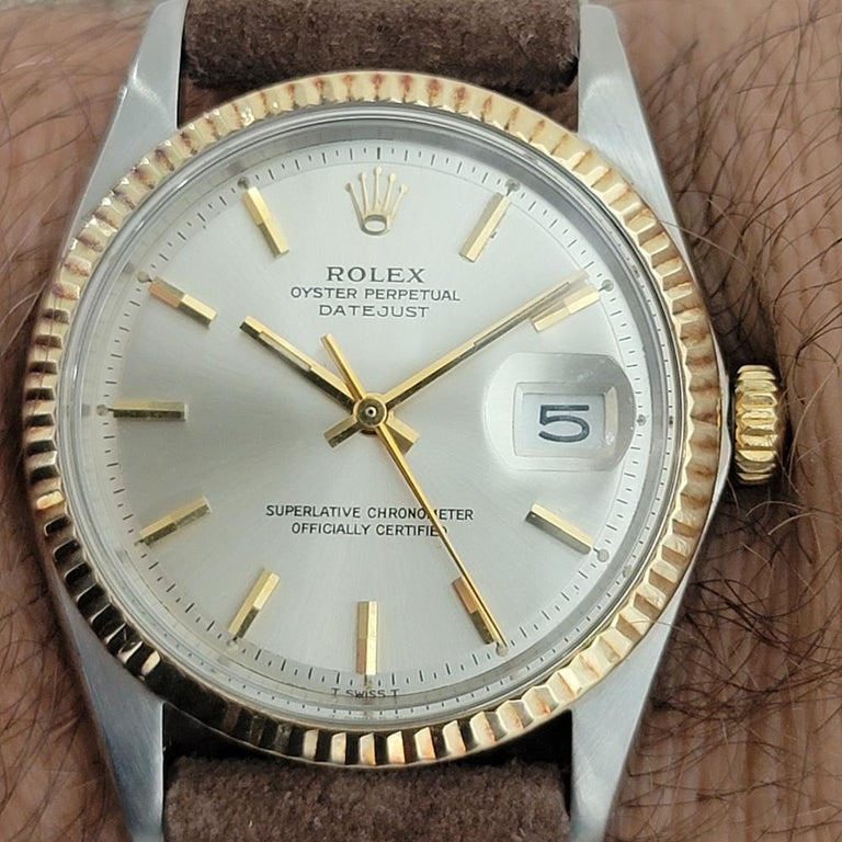 Mens Rolex Oyster Datejust 1601 18k SS Automatic 1970s Vintage Swiss RJC132 For Sale 9