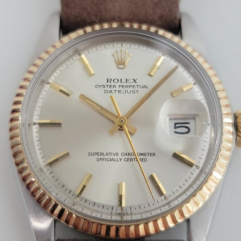 Timeless icon, Men's 18k gold and stainless steel Rolex Oyster Perpetual Datejust Ref.1601 automatic, c.1973. Verified authentic by a master watchmaker. Gorgeous Rolex signed silver dial, applied indice hour markers, gilt minute and hour hands,