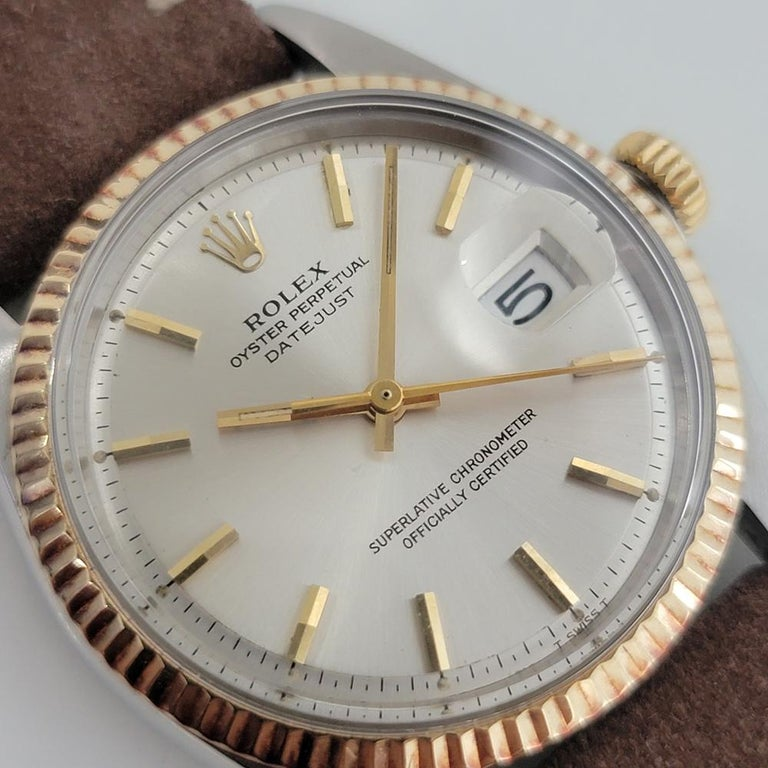 Mens Rolex Oyster Datejust 1601 18k SS Automatic 1970s Vintage Swiss RJC132 In Excellent Condition For Sale In Beverly Hills, CA