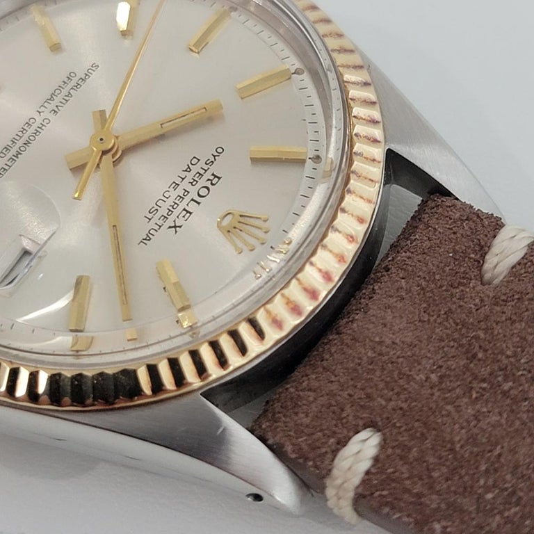 Mens Rolex Oyster Datejust 1601 18k SS Automatic 1970s Vintage Swiss RJC132 For Sale 1