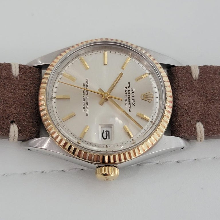 Mens Rolex Oyster Datejust 1601 18k SS Automatic 1970s Vintage Swiss RJC132 For Sale 2