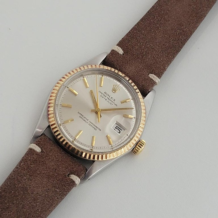 Mens Rolex Oyster Datejust 1601 18k SS Automatic 1970s Vintage Swiss RJC132 For Sale 3
