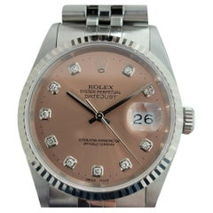 Mens Rolex Oyster Datejust 16234 18k SS Automatic Diamond Dial 1990s RJC147