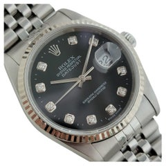 Mens Rolex Oyster Datejust 16234 18k SS Automatic Diamond Dial 2000s RJC111