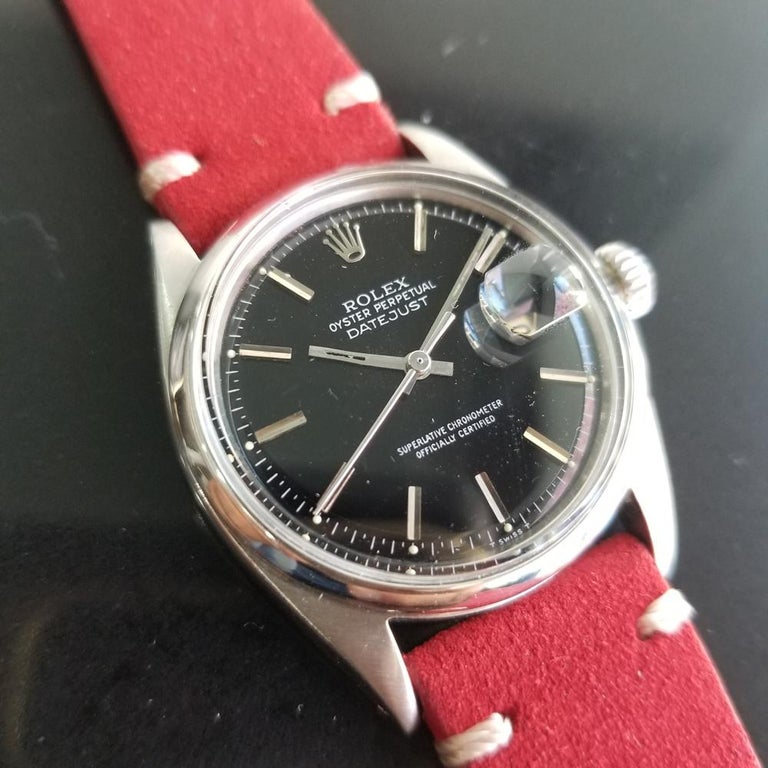 Mens Rolex Oyster Datejust Ref.1601 Automatic, c.1960s Vintage RA131RED In Excellent Condition In Beverly Hills, CA