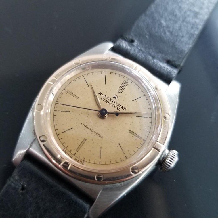Collectible classic, Men's Rolex Ref.2940 18k rose gold & stainless steel Oyster Perpetual bubble back automatic, c.1945. Verified authentic by a master watchmaker. Gorgeous Rolex signed vintage dial, natural patina on dial, gilt minute and hour