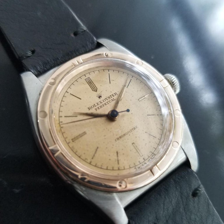 Men's Rolex Oyster Perpetual 18k Rose Gold & SS Automatic circa 1940s MA180BLK In Excellent Condition For Sale In Beverly Hills, CA