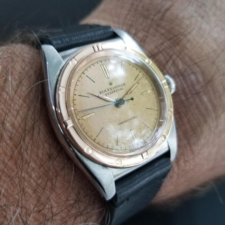 Men's Rolex Oyster Perpetual 18k Rose Gold & SS Automatic circa 1940s MA180BLK For Sale 3
