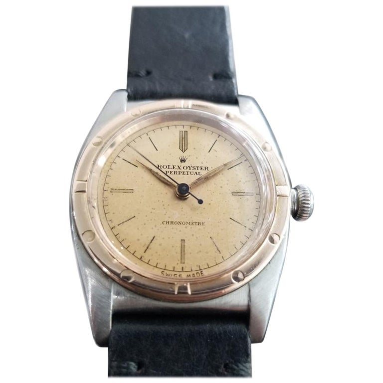 Men's Rolex Oyster Perpetual 18k Rose Gold & SS Automatic circa 1940s MA180BLK For Sale