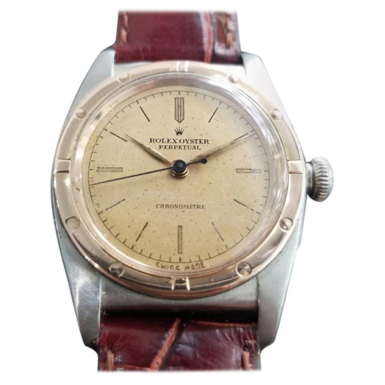 Men's Rolex Oyster Perpetual 2940 18k Rose Gold & SS Automatic circa 1940s MA180 For Sale