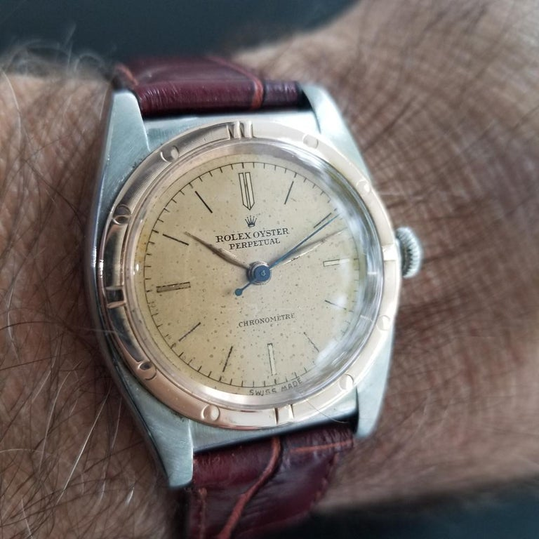 Men's Rolex Oyster Perpetual 2940 18k Rose Gold & SS Automatic circa 1940s MA180 For Sale 8