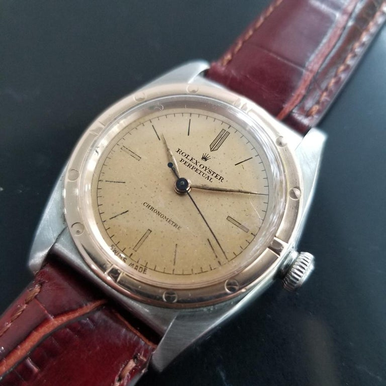Timeless classic, Men's Rolex 18k rose gold & stainless steel Oyster Perpetual Ref.2940 bubble back automatic dress watch, c.1945. Verified authentic by a master watchmaker. Gorgeous Rolex signed original vintage dial, some natural patina on dial,