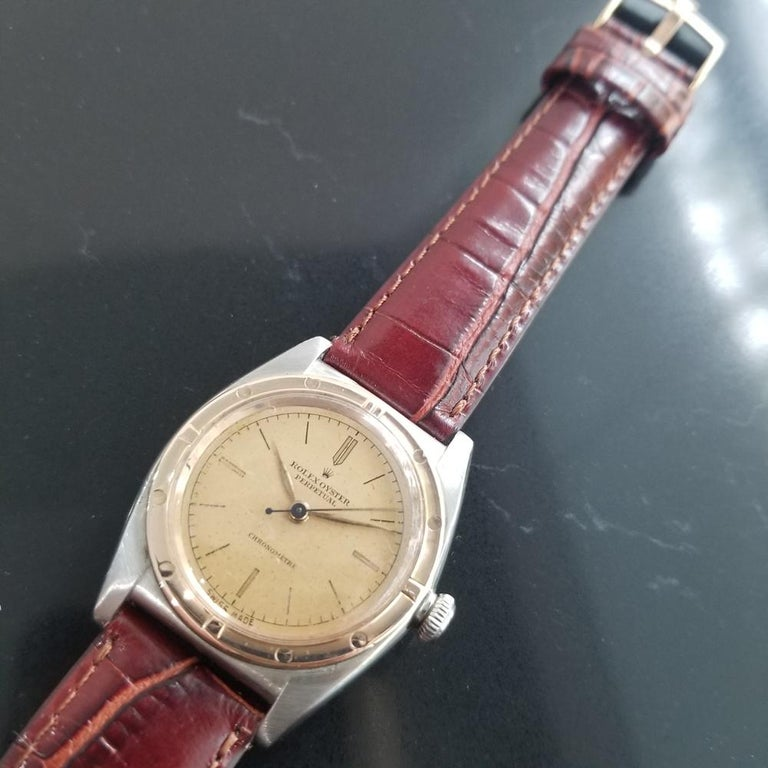 Men's Rolex Oyster Perpetual 2940 18k Rose Gold & SS Automatic circa 1940s MA180 For Sale 2