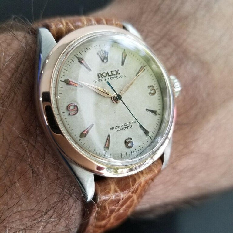Men's Rolex Oyster Perpetual 6285 18 Karat Gold & SS Automatic circa 1950s MA188 For Sale 6