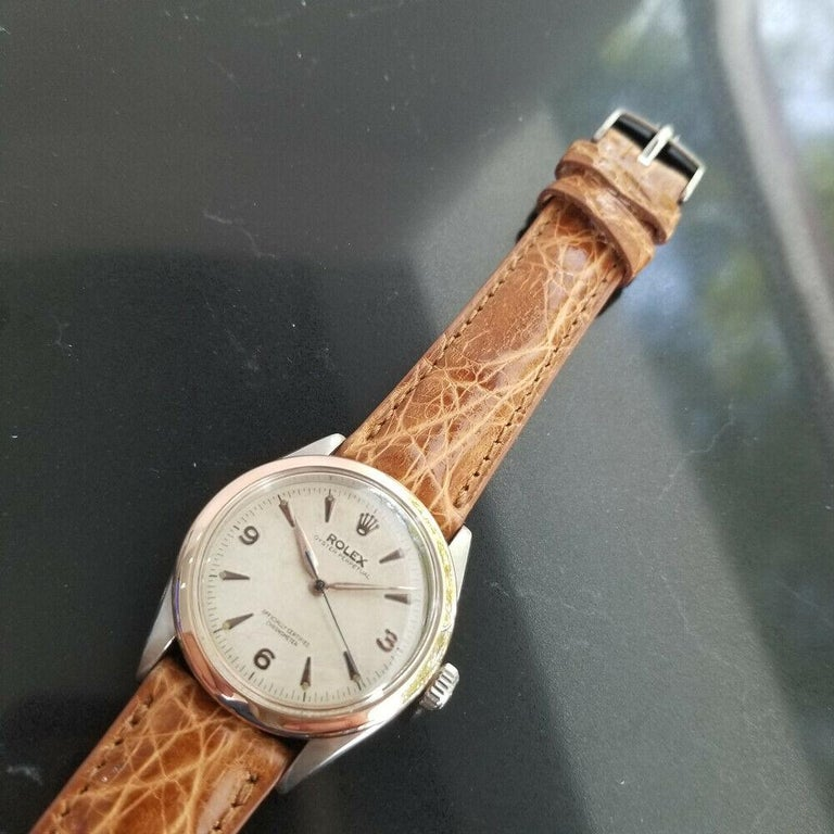 Men's Men's Rolex Oyster Perpetual 6285 18 Karat Gold & SS Automatic circa 1950s MA188 For Sale