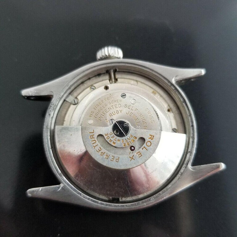 Men's Rolex Oyster Perpetual 6285 18 Karat Gold & SS Automatic circa 1950s MA188 For Sale 4