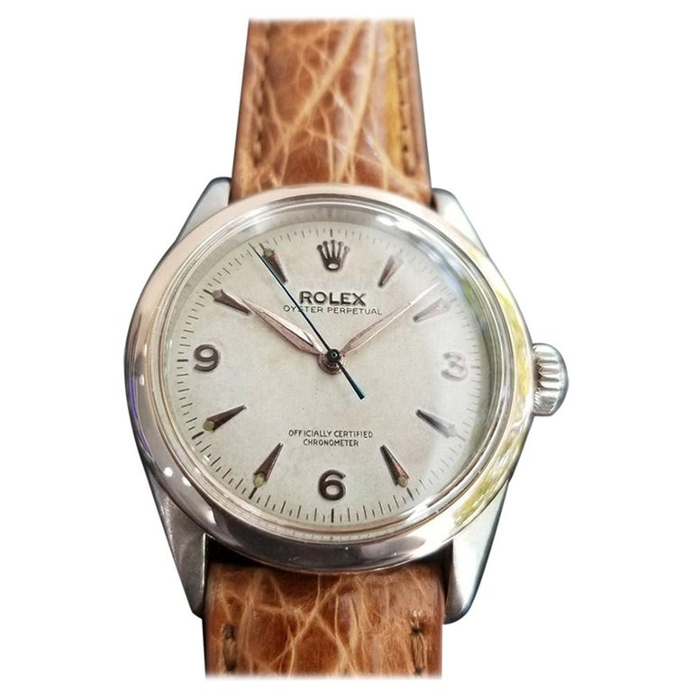 Men's Rolex Oyster Perpetual 6285 18 Karat Gold & SS Automatic circa 1950s MA188 For Sale
