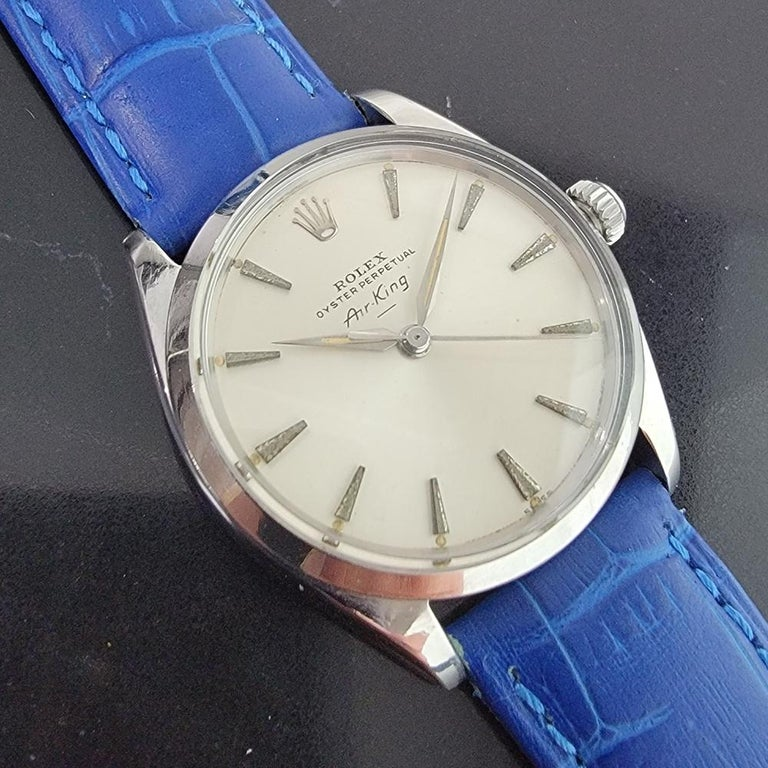Mens Rolex Oyster Perpetual Air King 5500 Automatic 1960s Vintage RA208 In Excellent Condition For Sale In Beverly Hills, CA