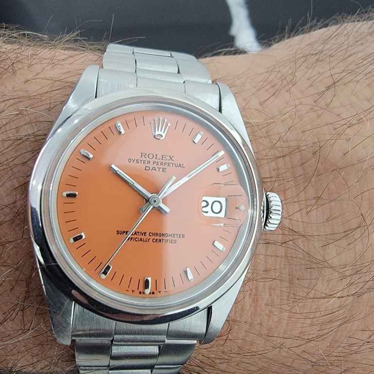 Mens Rolex Oyster Perpetual Date 1500 1970s Orange Dial Automatic RA175 For Sale 8