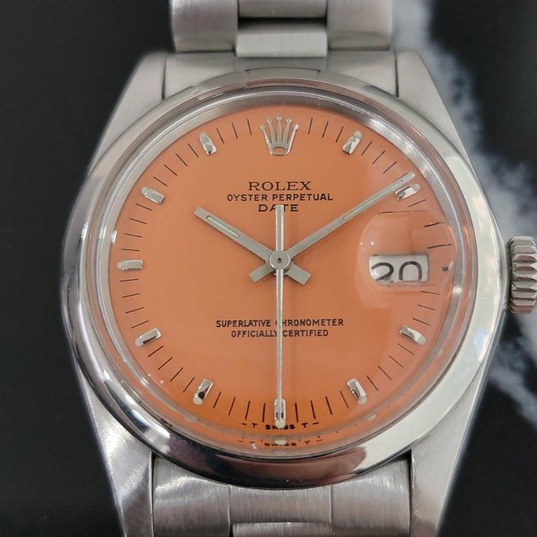 Iconic classic, Men's Rolex Oyster Perpetual Date Ref.1500 automatic in custom orange, c.1978. Verified authentic by a master watchmaker. Original Rolex dial restored in vintage orange to exact specs, applied indice hour markers, lminute and hour