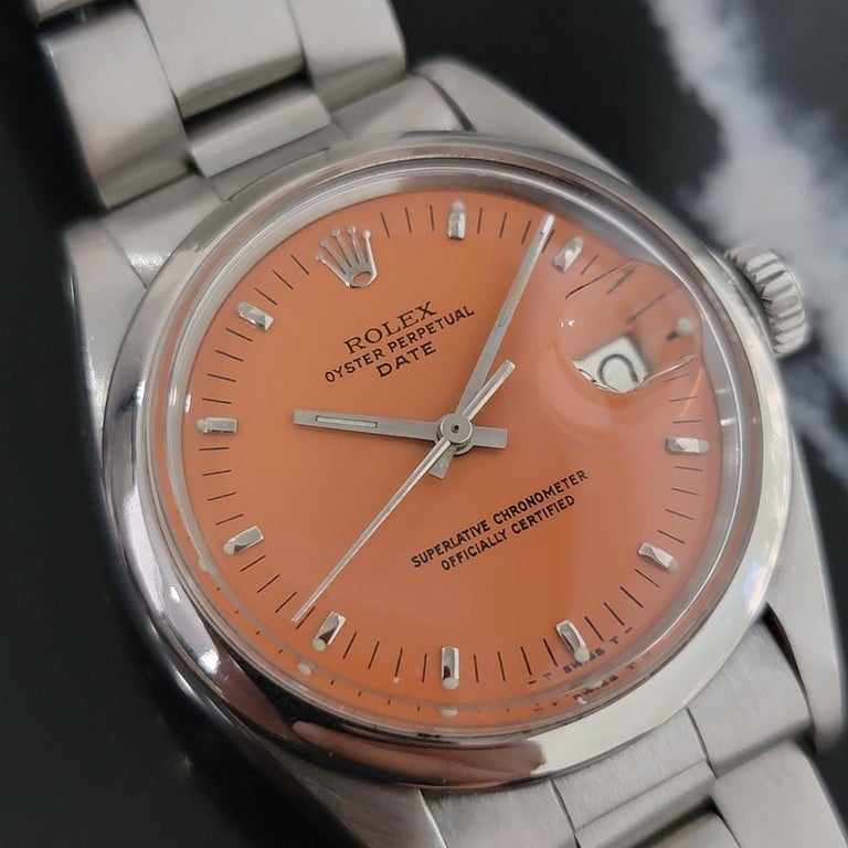 Mens Rolex Oyster Perpetual Date 1500 1970s Orange Dial Automatic RA175 In Excellent Condition For Sale In Beverly Hills, CA