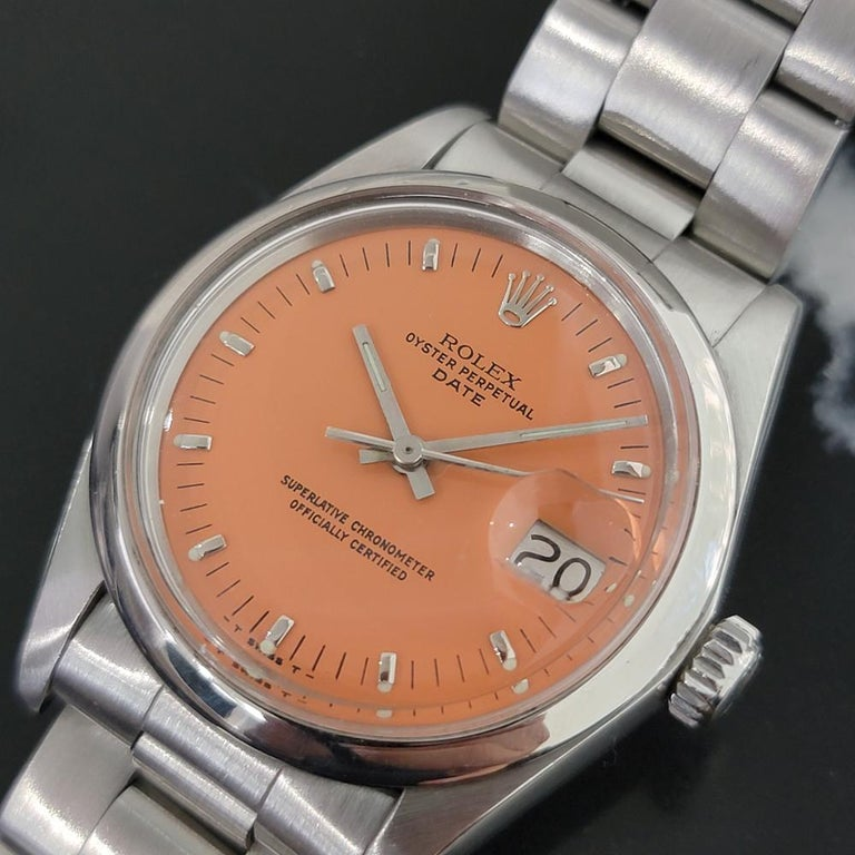 Men's Mens Rolex Oyster Perpetual Date 1500 1970s Orange Dial Automatic RA175 For Sale