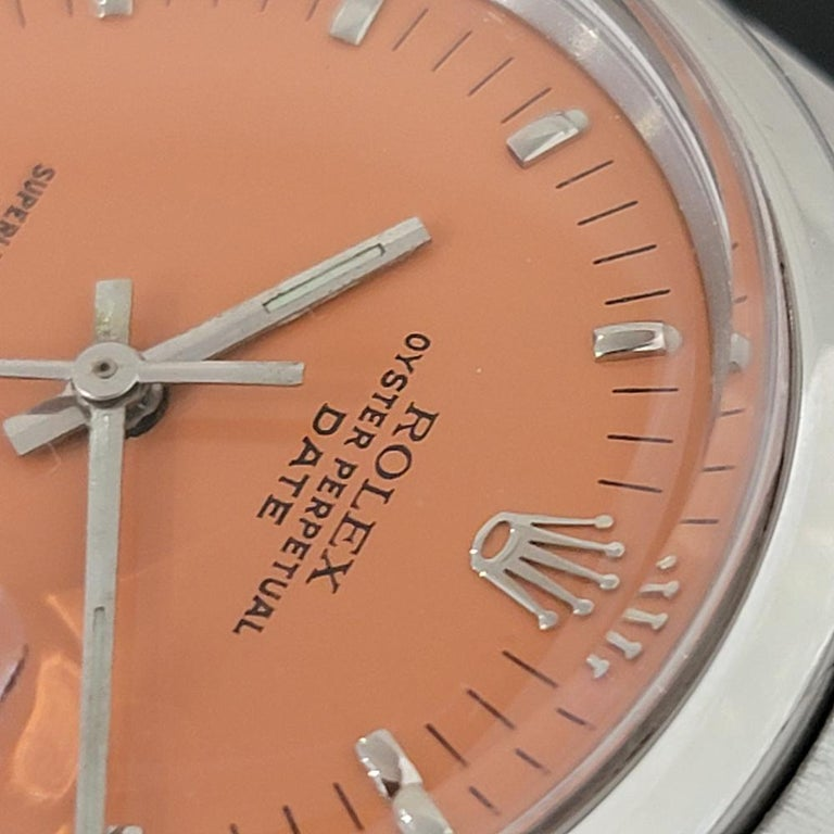 Mens Rolex Oyster Perpetual Date 1500 1970s Orange Dial Automatic RA175 For Sale 1