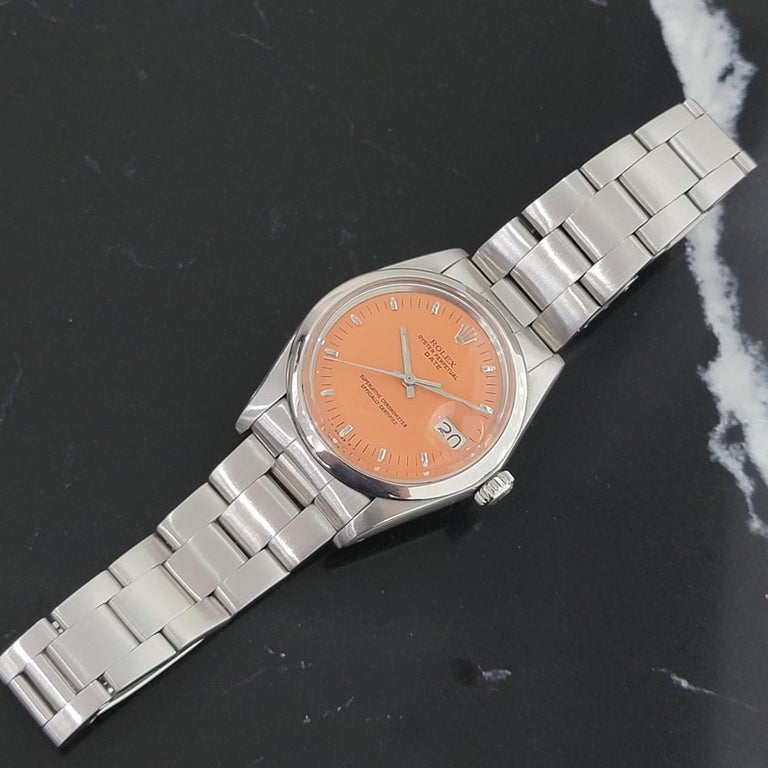 Mens Rolex Oyster Perpetual Date 1500 1970s Orange Dial Automatic RA175 For Sale 2