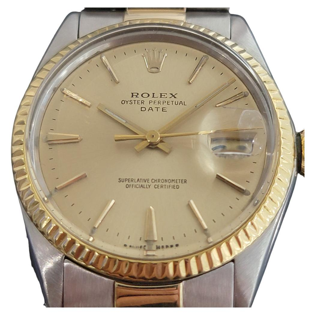 Mens Rolex Oyster Perpetual Date 1500 14k Gold ss Automatic 1960s RA168