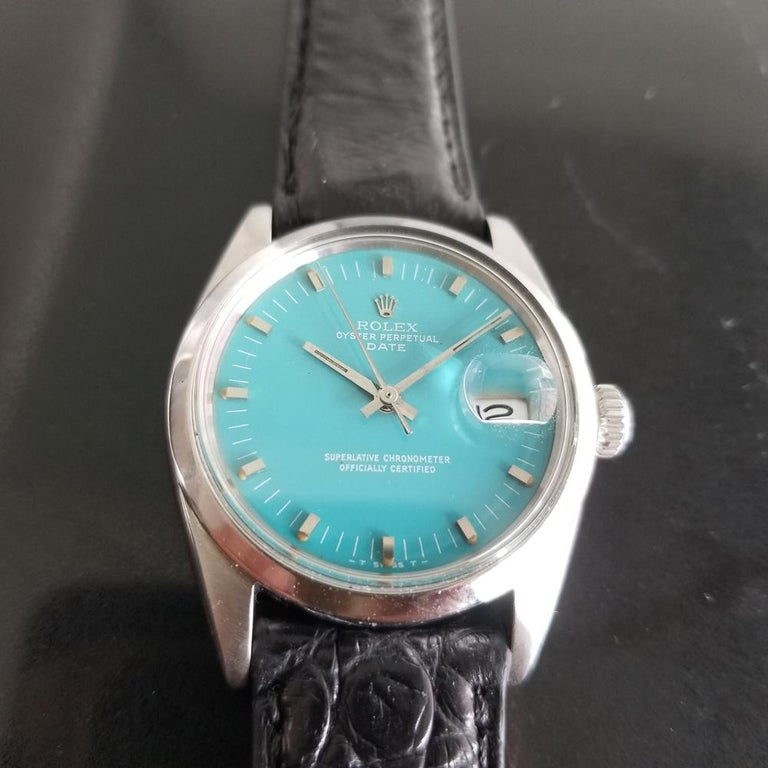 Iconic classic in sky blue, Men's Rolex Oyster Perpetual Date Ref.1500 automatic, c.1966. Verified authentic by a master watchmaker. Stunning original Rolex-signed dial restored in custom sky blue, applied indice hour markers, minute and hour hands,