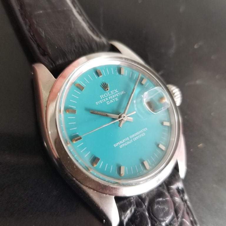 Men's Rolex Oyster Perpetual Date 1500 Automatic, c.1960s Vintage RA112BLK In Excellent Condition In Beverly Hills, CA