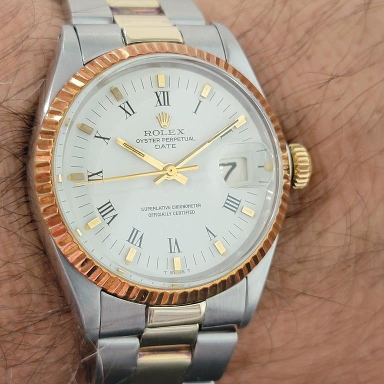 Mens Rolex Oyster Perpetual Date 1500 Gold ss Automatic 1970s Swiss RA164 For Sale 9