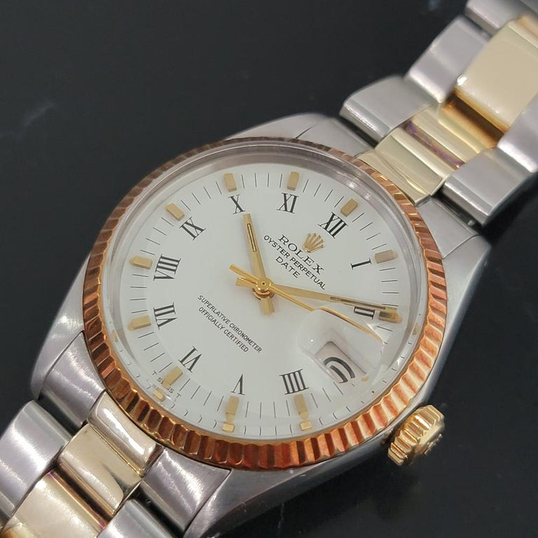 Men's Mens Rolex Oyster Perpetual Date 1500 Gold ss Automatic 1970s Swiss RA164 For Sale