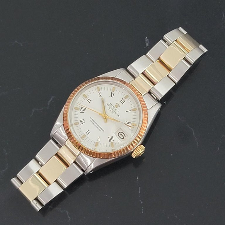 Mens Rolex Oyster Perpetual Date 1500 Gold ss Automatic 1970s Swiss RA164 For Sale 1
