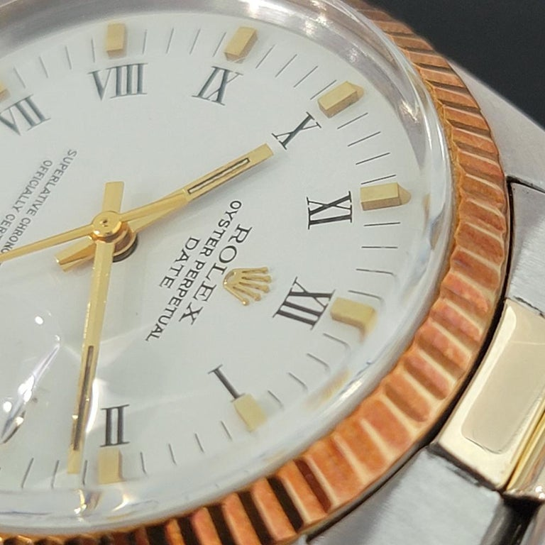 Mens Rolex Oyster Perpetual Date 1500 Gold ss Automatic 1970s Swiss RA164 For Sale 2