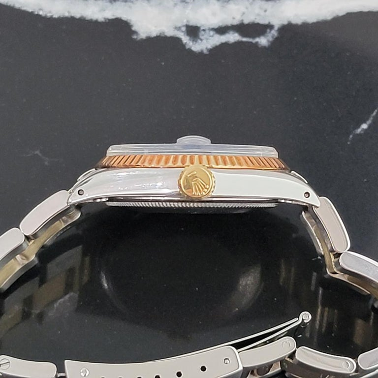Mens Rolex Oyster Perpetual Date 1500 Gold ss Automatic 1970s Swiss RA164 For Sale 3