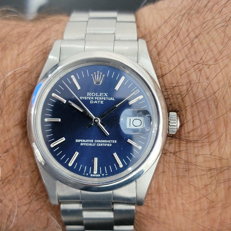 Mens Rolex Oyster Perpetual Date 15000 Automatic Blue Dial 1980s RA167 For Sale 8
