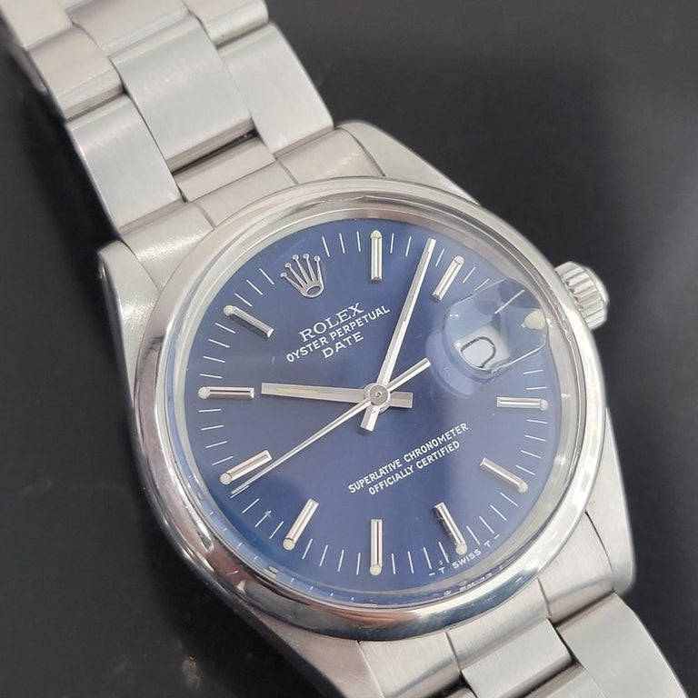 Mens Rolex Oyster Perpetual Date 15000 Automatic Blue Dial 1980s RA167 In Excellent Condition For Sale In Beverly Hills, CA