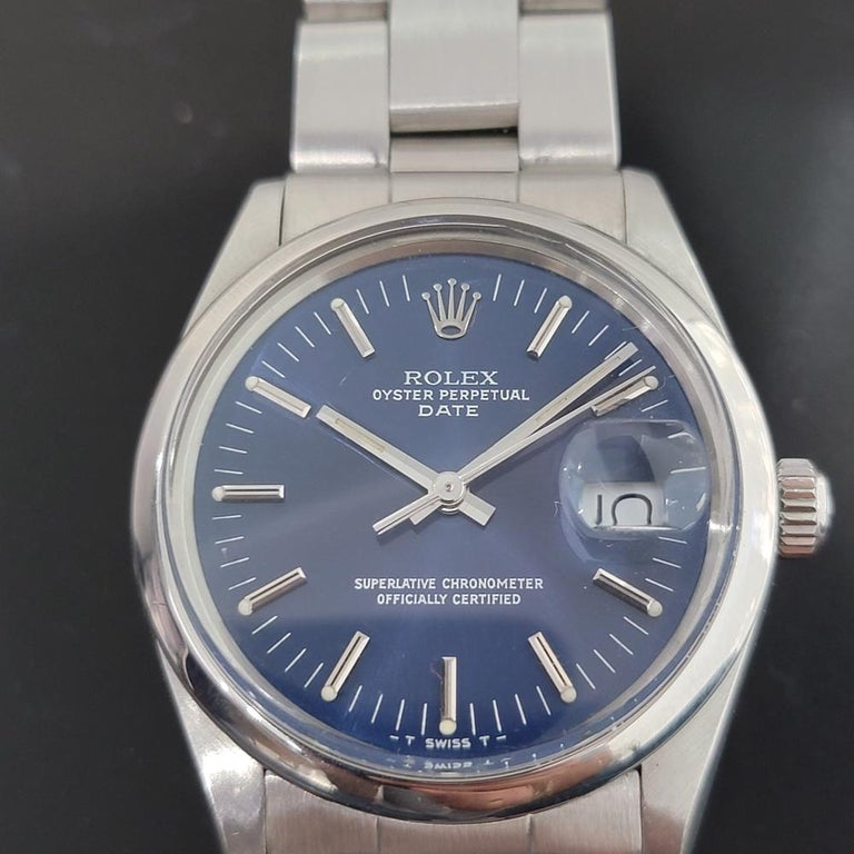 Men's Mens Rolex Oyster Perpetual Date 15000 Automatic Blue Dial 1980s RA167 For Sale