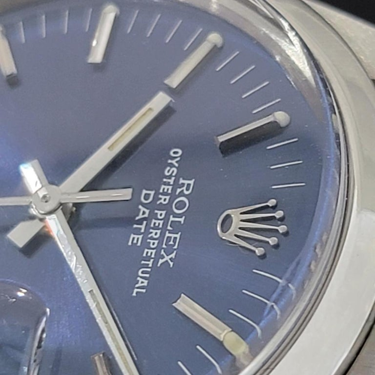 Mens Rolex Oyster Perpetual Date 15000 Automatic Blue Dial 1980s RA167 For Sale 1
