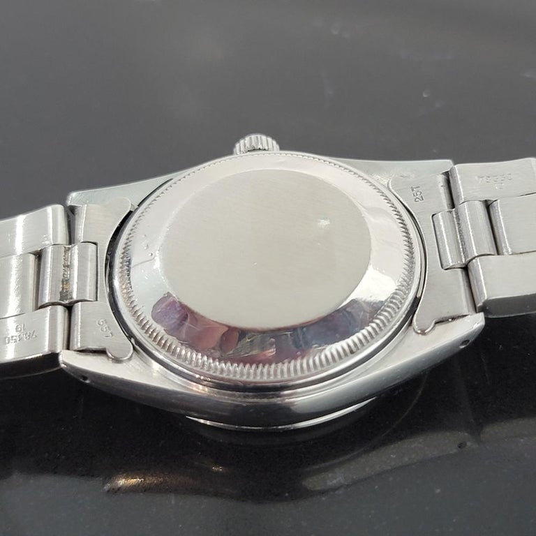 Mens Rolex Oyster Perpetual Date 15000 Automatic Blue Dial 1980s RA167 For Sale 4